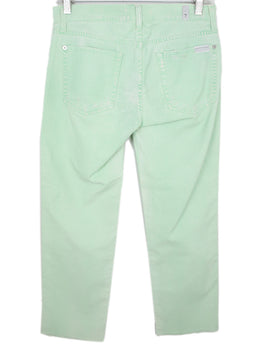 Seven For All Mankind Pastel Green Distressed Cotton Denim Pants 2