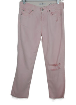 Seven For All Manking Light Pink Distressed Denim Pants 2
