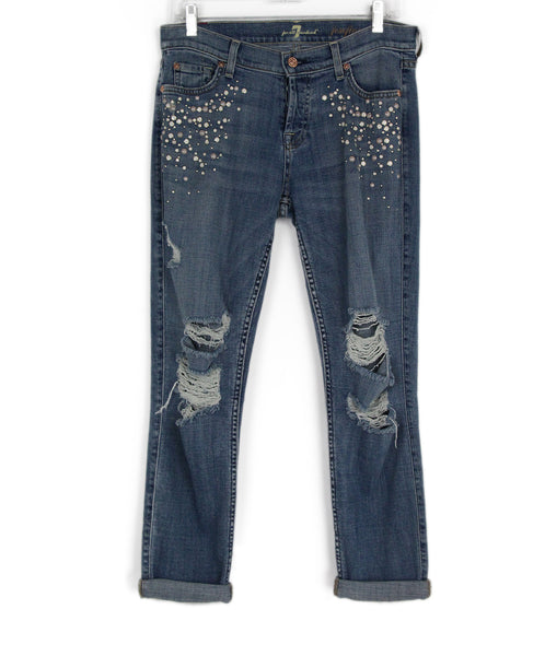 Seven Blue Denim Blue Beaded Trim Pants 1