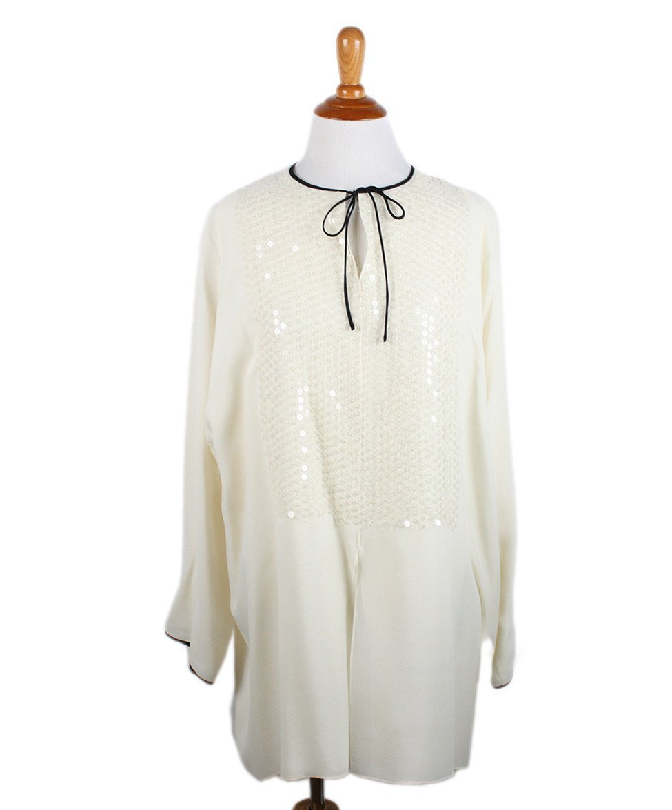 Shamask Ivory Silk Black Trim Tunic Sz 14 - Michael's Consignment NYC  - 1