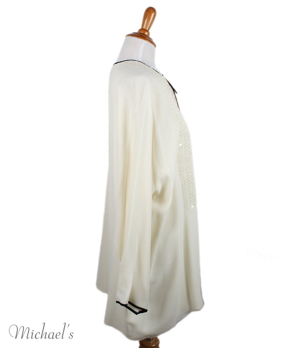 Shamask Ivory Silk Black Trim Tunic Sz 14 - Michael's Consignment NYC  - 2