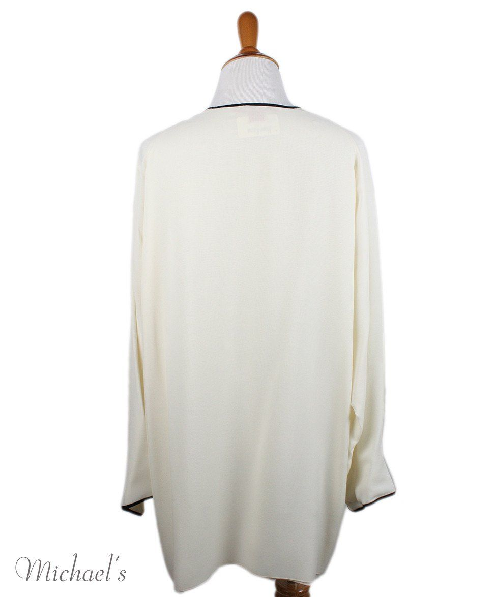 Shamask Ivory Silk Black Trim Tunic Sz 14 - Michael's Consignment NYC  - 3
