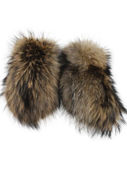 Black Leather Fox Fur Mittens