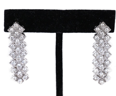 Silver 14 K White Gold Diamond Fringe earrings 1