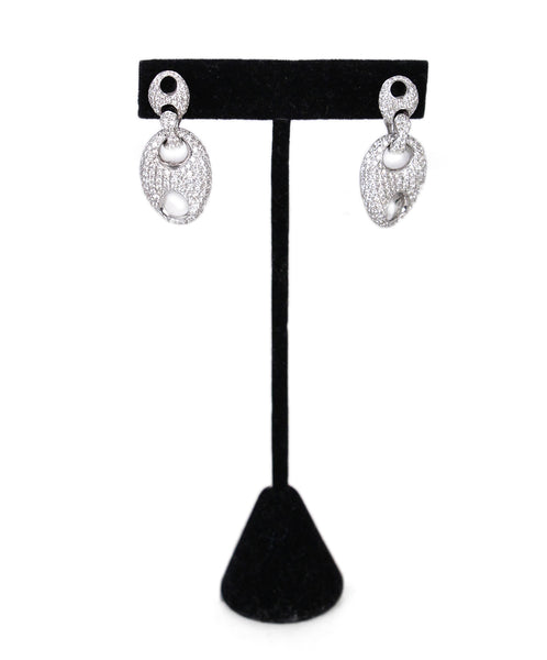 Silver 18 k White Gold Diamond Round Dangle Earrings 1