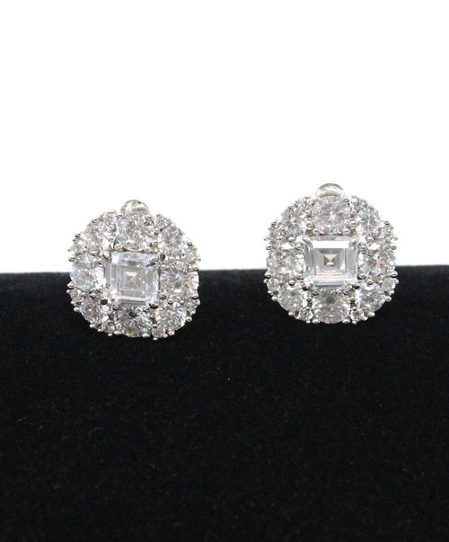 Silver Cubic Zirconia Clip-on Earrings 1