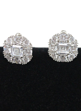 Silver Cubic Zirconia Clip-on Earrings 2