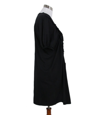Simone Rocha Black Ruched Cotton T Shirt Dress 1