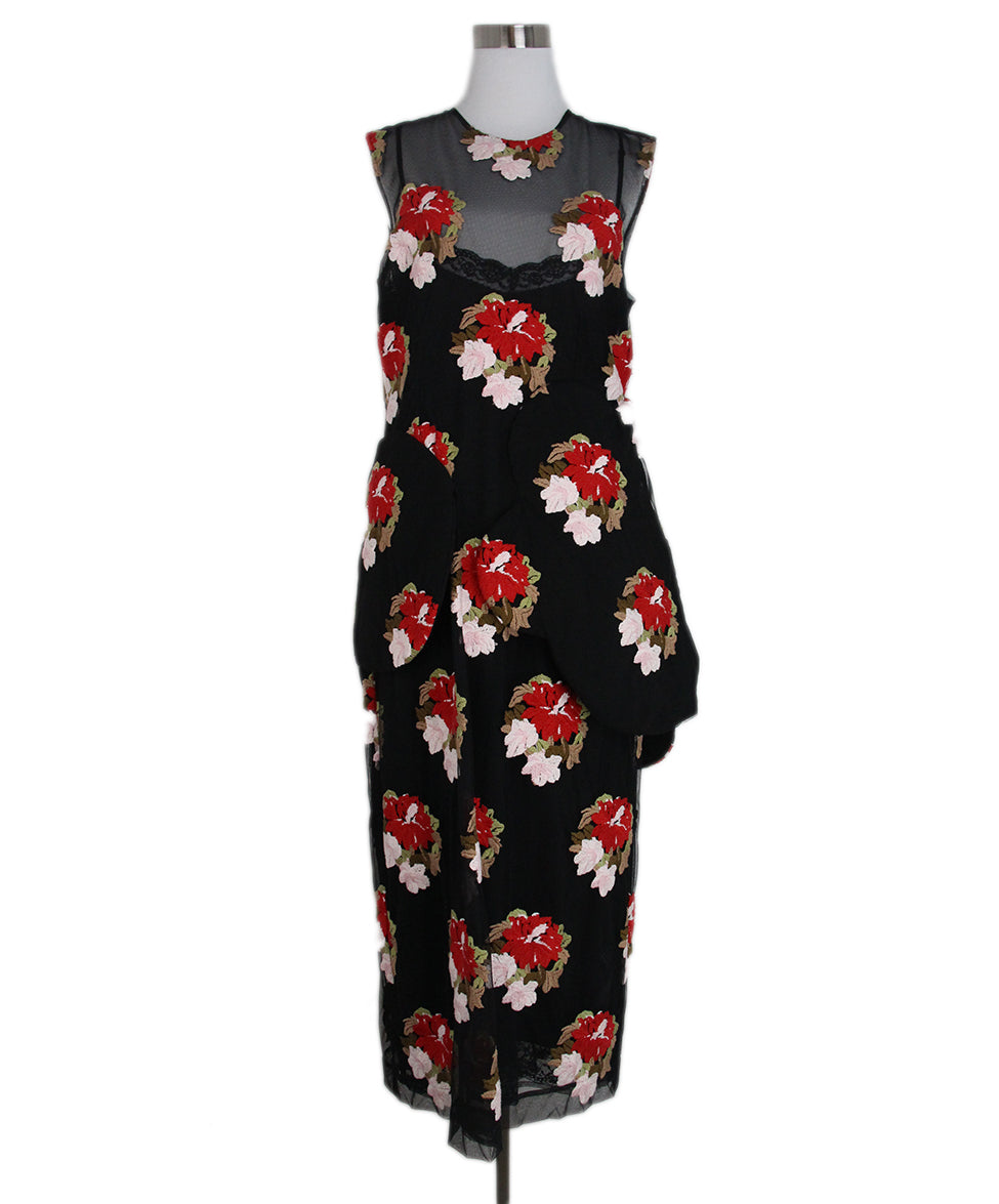 Simone Rocha black red beige mesh floral dress 1