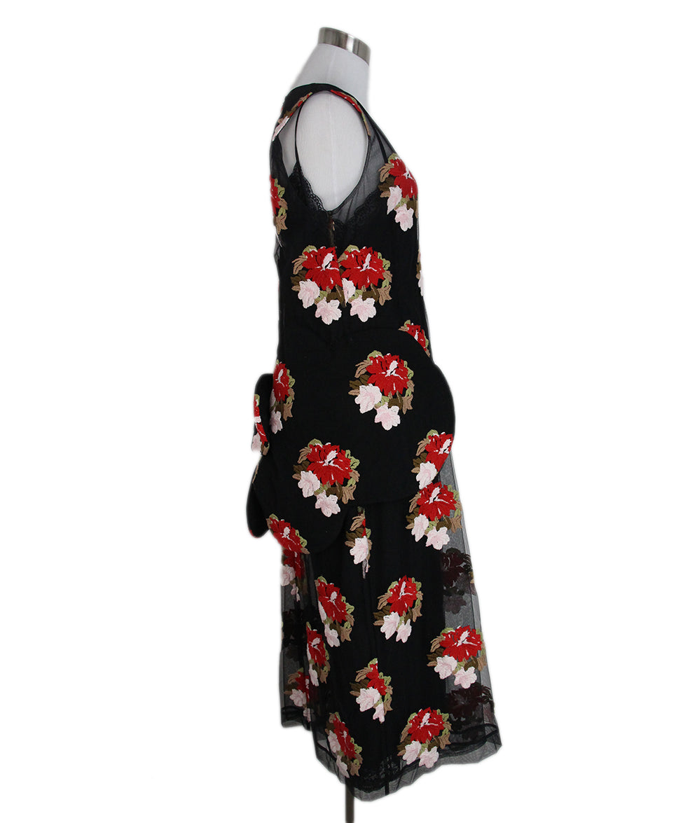 Simone Rocha black red beige mesh floral dress 2