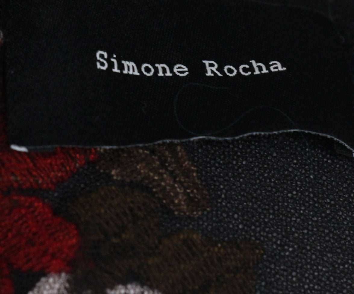 Simone Rocha black red beige mesh floral dress 4