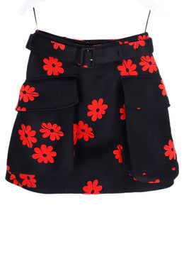 Simone Rocha Black Red Floral Polyester Belted Skirt 1