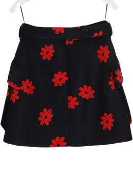 Simone Rocha Black Red Floral Polyester Belted Skirt 2