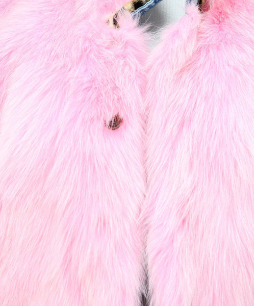 Jacket Simonetta Ravizza Size 4 Blue Denim Pink Fox Reversible Fur Outerwear