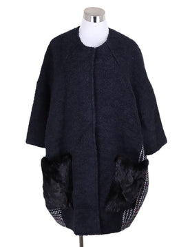 Simonetta Ravizza Black Wool Plaid Fleece Mink Coat