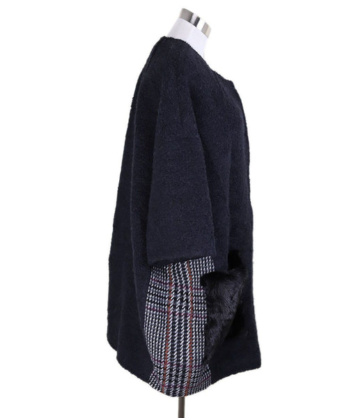 Simonetta Ravizza Black Wool Plaid Fleece Mink Coat 1
