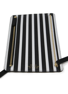 Smythson Multi Black Leather White Stripes Passport Case 1