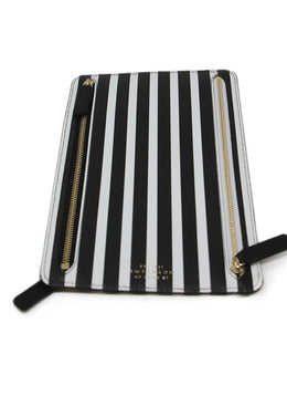 Smythson Multi Black Leather White Stripes Passport Case 2