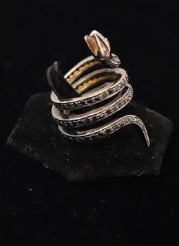 Coiled Snake Black Diamond Ring 2