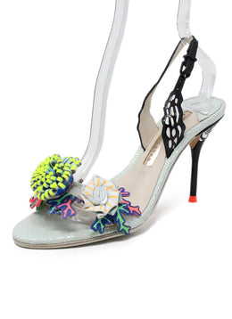 Sophia Webster Metallic Blue Sandals with Floral Embellishments 1