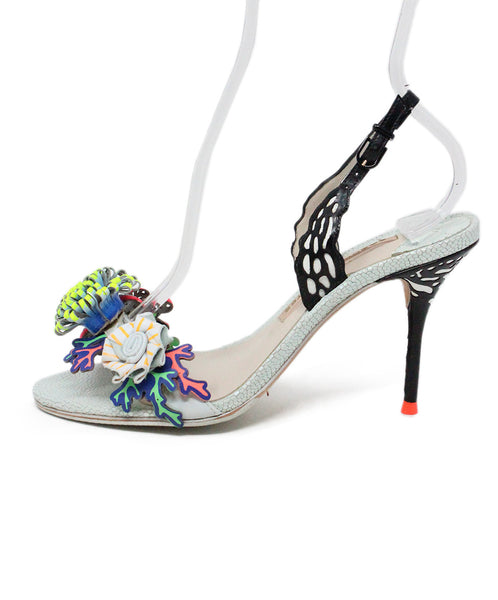 Sophia Webster Metallic Blue Sandals with Floral Embellishments 2
