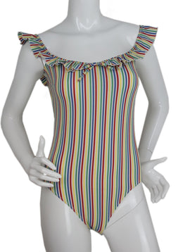 Solid&Striped Yellow, Red, Blue, Green Striped One Piece Swim Suit with Ruffle Straps 1