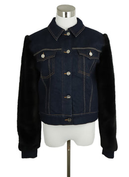 Sonia Rykiel Blue Denim Black Faux Fur Sleeves Jacket 1