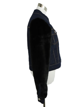 Sonia Rykiel Blue Denim Black Faux Fur Sleeves Jacket 2