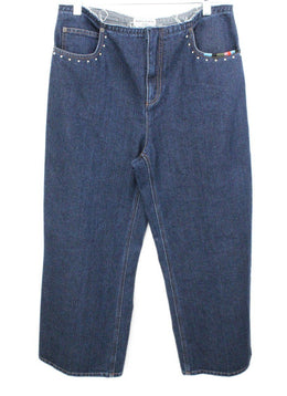 Sonia Rykiel Blue Denim Studs Trim Pants 1