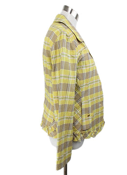 Sonia Rykiel Yellow Plaid Cotton Jacket 2