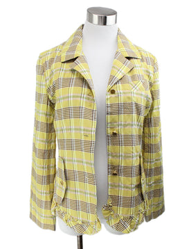 Sonia Rykiel Yellow Plaid Cotton Jacket 1