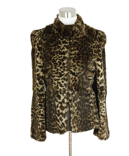 Sonia Rykiel Neutral Brown Animal Print Rabbit Jacket 1