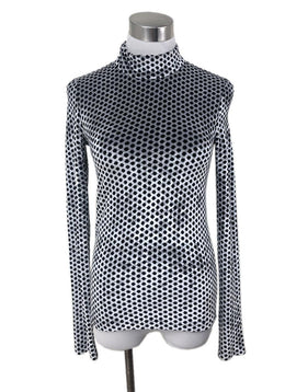 Sonia Rykiel Silver Black Polka Dot Turtleneck Top