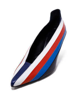Sonia Rykiel Blue White Red Stripes Leather Heels 1