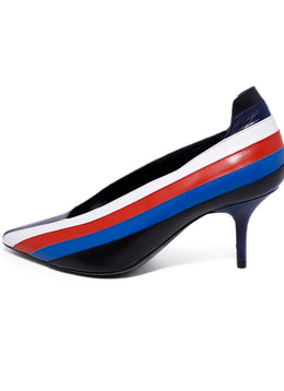 Sonia Rykiel Blue White Red Stripes Leather Heels 2