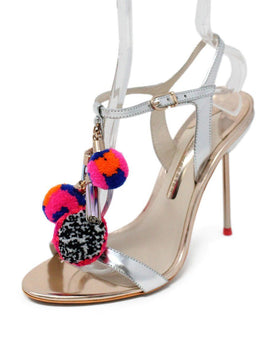 Sophia Webster Metallic Rose Gold Leather PomPom Sandals