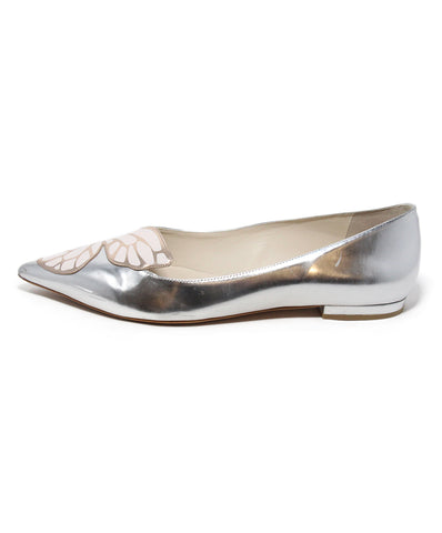 Sophia Webster metallic silver pink leather flats 1
