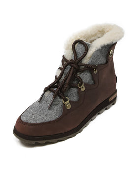 Sorel Burgundy Grey Leather Flannel Booties 1
