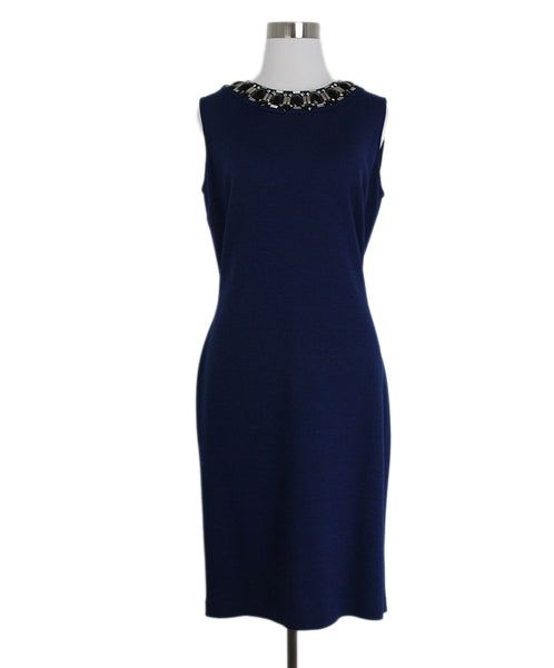 St. John Blue Knit Black Jewel trim dress 1