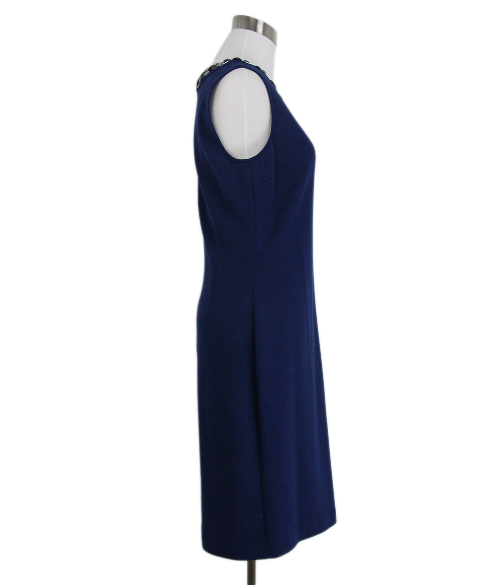 St. John Blue Knit Black Jewel trim dress 2