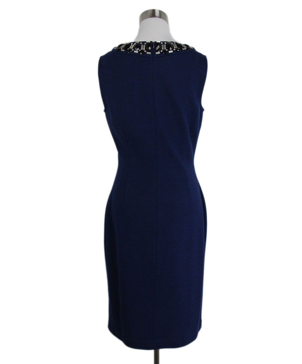 St. John Blue Knit Black Jewel trim dress 3