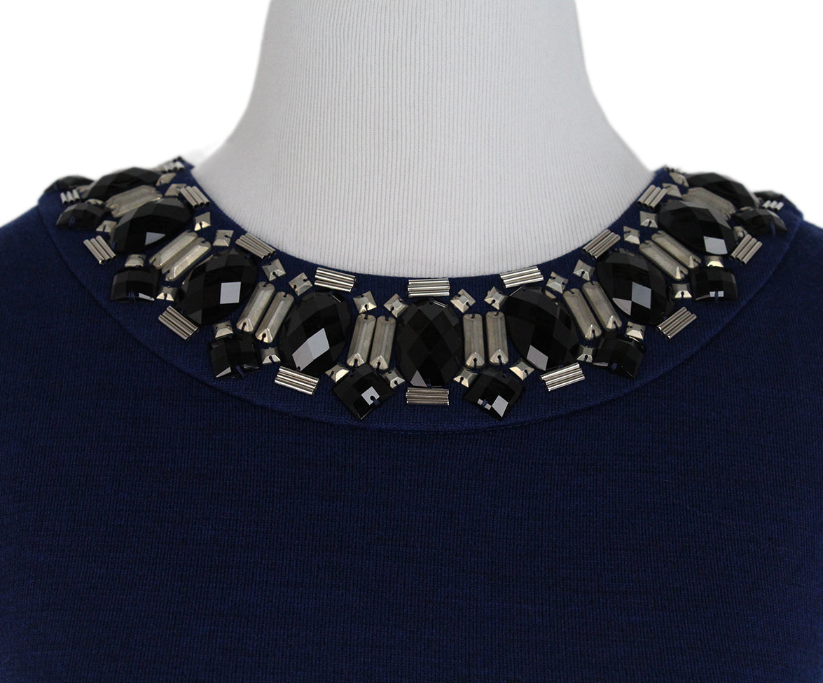 St. John Blue Knit Black Jewel trim dress 6