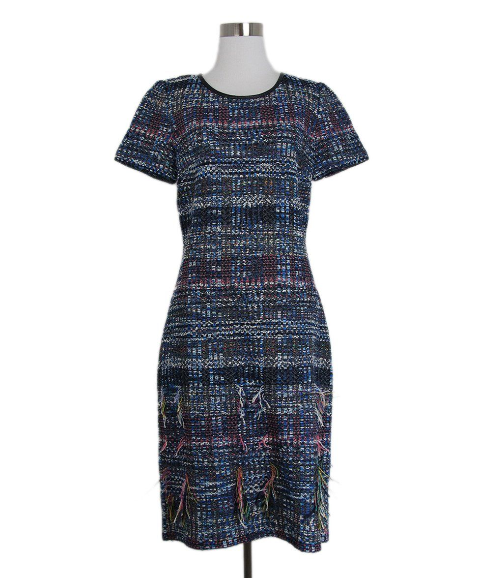 St. John Blue White Pink Tweed Dress 1