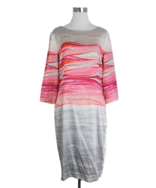 St. John Grey Pink Silk Dress 1