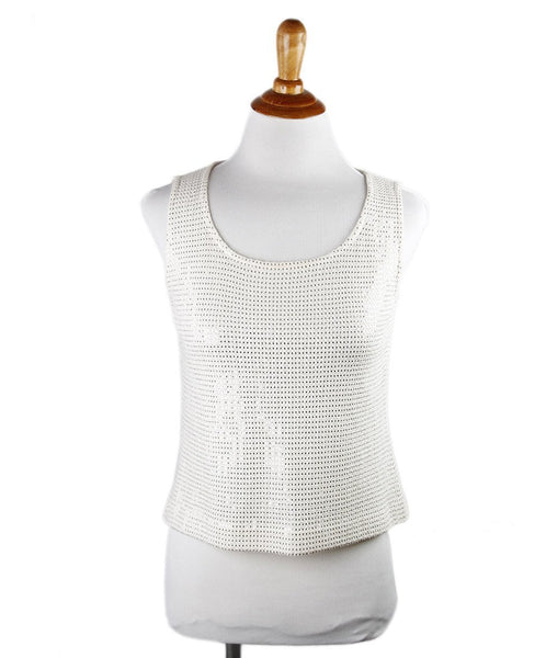 St. John Neutral Ivory Silk Glitter Top Sz 0