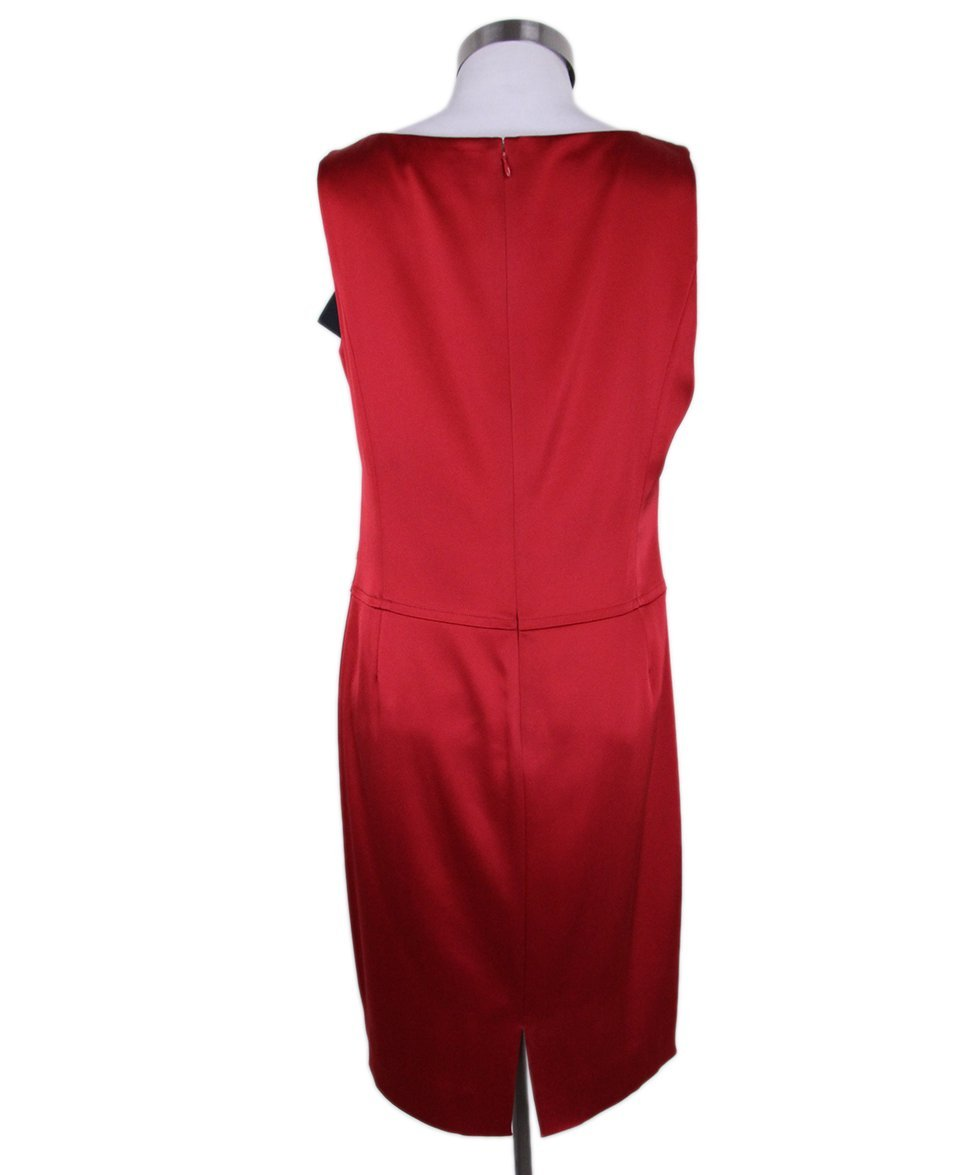 St. John Red Silk Black Dress 3