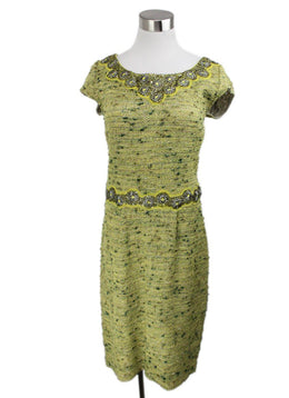 St. John Lime Green Knit Tweed Beaded with Jacket Dress 1