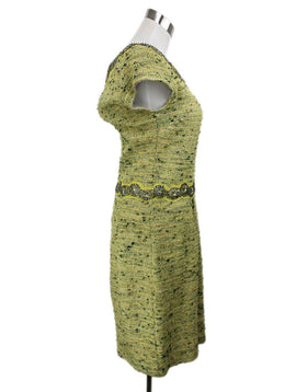 St. John Lime Green Knit Tweed Beaded with Jacket Dress 2