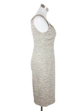 St. John Beige Silver Polyester Lurex Sequins Dress 2