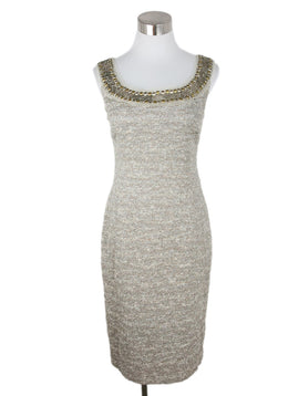 St. John Beige Silver Polyester Lurex Sequins Dress 1